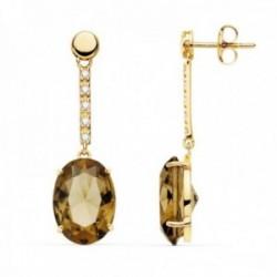 Pendientes oro 18k largos 35mm. piedra imitación fumé oval detalle circonitas cierre presión