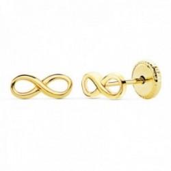 Pendientes oro 18k símbolo infinito 8mm. liso calado cierre tornillo