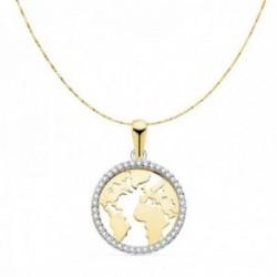 Gargantilla oro bicolor 18k cadena 42cm. veneciana colgante bola del mundo 16mm. cerco circonitas