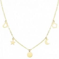 Gargantilla oro 18k cadena forzada 40cm. chapita corazón calado estrella flor calada luna colgando