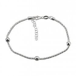 Pulsera plata Ley 925m cadena 18cm. coreana 3 bolas talladas cierre mosquetón mujer