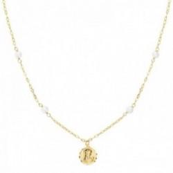 Gargantilla oro 18k cadena forzada 40cm alterna perlas 3.5mm colgante 8mm. Virgen Niña borde tallado