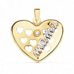 Colgante oro bicolor 18k corazón 20mm. palabra MAMÁ detalle circonita corazones calados