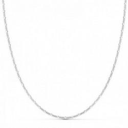 Cadena oro blanco 18k 50cm. eslabones alternos 3x1 cierre reasa
