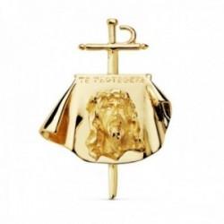 Colgante oro 18k Cristo de los toreros 33mm. TE PROTEGERÉ busto Jesús sobre capote tallado