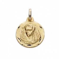 Medalla oro 18k Virgen de la Macarena 16mm. relieve borde tallado