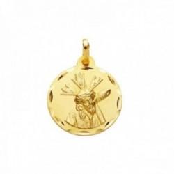 Medalla oro 18k escapulario 20mm. Cristo del Gran Poder Virgen Macarena borde tallado