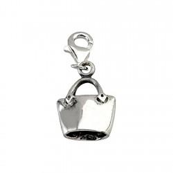 Colgante charm plata Ley 925m bolso 16mm. cierre mosquetón mujer