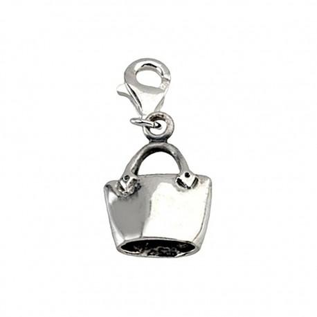 Colgante charm plata Ley 925m bolso mosquetón [5768]
