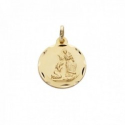 Medalla oro 18k bendición de San Francisco 16mm. borde tallado