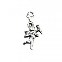 Colgante charm plata Ley 925m Cupido 30mm. liso mosquetón