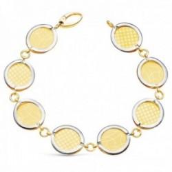 Pulsera oro bicolor 18k 20.5cm. eslabones redondos diseños matizados cierre mosquetón