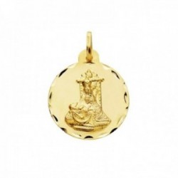 Medalla oro 18k escapulario 16mm. Corazón de Jesús Virgen de las Angustias borde tallado