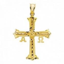 Colgante oro 18k cruz de Covadonga 39mm. omega alfa detalles tallados