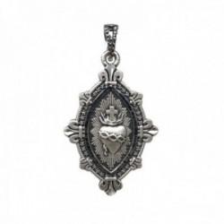Medalla plata Ley 925m. maciza Corazón de Jesús 38mm. DETENTE unisex