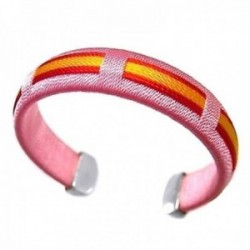 Pulsera plata ley 925m bandera España hilo rosa