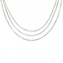 Gargantilla plata Ley 925m 3 cadenas bola barra [1736]