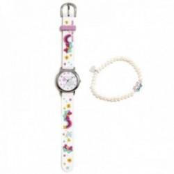 Conjunto Agatha Ruiz de la Prada AGR302 colección Fantasía niña mariposas reloj blanco pulsera plata