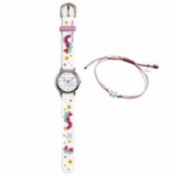 Conjunto Agatha Ruiz de la Prada AGR306 colección Fantasía niña mariposas reloj blanco pulsera plata