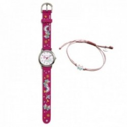 Conjunto Agatha Ruiz de la Prada AGR307 colección Fantasía niña mariposas reloj fucsia pulsera plata