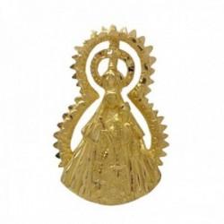 Colgante medalla oro 18k Virgen de la Estrella silueta 32mm. corona puntas unisex
