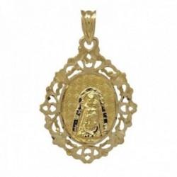 Colgante medalla oro 18k Virgen de la Estrella 30mm. cerco calado unisex
