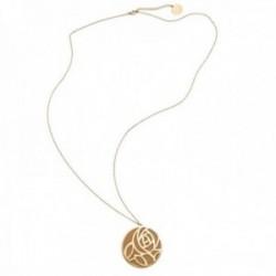 Collar Pertegaz PER2669 colección Troq metal bañado dorado ecopiel orange-nude colgante reversible