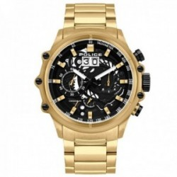 Reloj Police hombre PL.16018JSG-02M colección Luang dorado acero inoxidable esfera negra