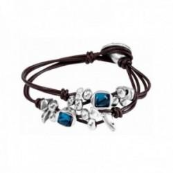 Pulsera Unode50 Toro Azul PUL1481AZUMAROM colección Creative Winds metal chapado plata cuero marrón