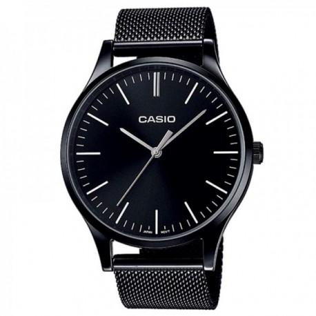 Reloj Casio Vintage Round unisex LTP-E140B-1AEF acero inoxidable acabado IP negro malla milanesa