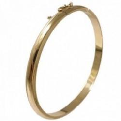 Pulsera oro 18k brazalete media caña 60x6mm. circular lisa mujer