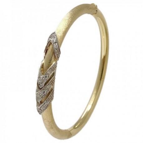 Pulsera oro 18k bicolor brazalete oval 60x5mm. mate brillo detalles circonitas mujer