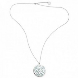 Collar Pertegaz PER2666 colección Troq metal bañado plateado ecopiel agua-navy colgante reversible