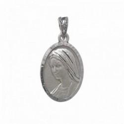 Medalla plata Ley 925m escapulario macizo Virgen de Medjugorje Reina de la Paz Jesús Misericordioso