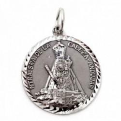 Medalla plata Ley 925m Virgen de la Cabeza Andújar 26mm. maciza detalles tallados brillo mate cerco hélice