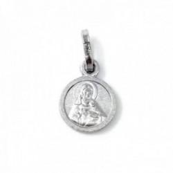 Medalla plata Ley 925m escapulario lenteja 9mm. maciza Sagrado Corazón de Jesús Virgen del Carmen