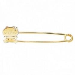 Alfiler oro bicolor 18k bebé 36mm. detalle gatita