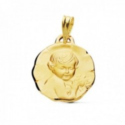 Medalla oro 9k Niño de la Flor 18mm. flores acabado matizado bordes irregulares figura relieve