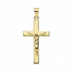 Colgante oro 9k cruz crucifijo 23mm. lisa palo plano cristo