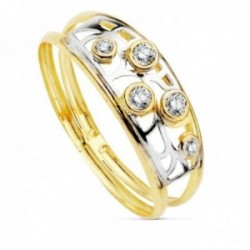 Sortija oro bicolor 9k mujer centro detalle calado circonitas dos bandas