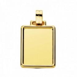 Colgante oro 9k chapa 29mm. lisa rectangular detalle cerco esquinas redondeadas