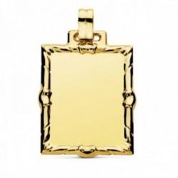 Colgante oro 9k chapa 34mm. lisa rectangular detalle cerco tallado