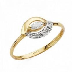 Sortija oro bicolor 9k niña centro bandas lisa circonitas oval redondas