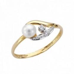 Sortija oro bicolor 9k niña centro perla circonitas bandas