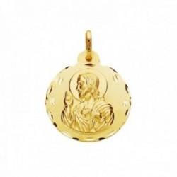 Medalla oro 9k escapulario 20mm. Sagrado Corazón de Jesús Virgen del Carmen cerco tallado