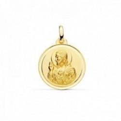 Medalla oro 9k escapulario 18mm. Sagrado Corazón de Jesús Virgen del Carmen cerco