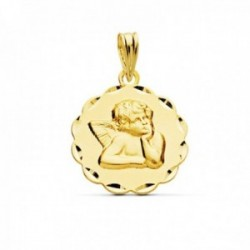 Medalla oro 9k Ángel Burlón Querubín Querubín 16mm. detalle cerco forma tallado