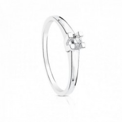 Solitario oro blanco 18k liso centro diamante 0.150ct. brillante garras