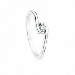 Solitario oro blanco 18k liso centro diamante 0.100ct. brillante detalle banda forma