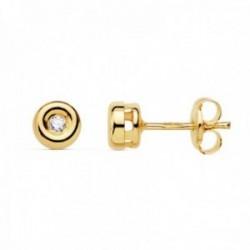 Pendientes oro 18k chatón 4.85mm. diamantes 0.030ct. brillantes cierre presión